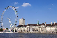 The London Eye, County Hall and the River Thames Royalty Free Stock Images