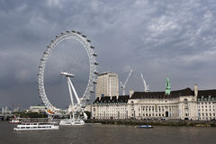 London Eye and County Hall Stock Photos