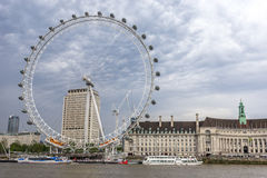 London Eye and County Hall Royalty Free Stock Image