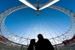 London Eye and the couple Royalty Free Stock Images