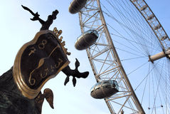 London eye and Dali sculpture. At the South Bank in London Royalty Free Stock Photos