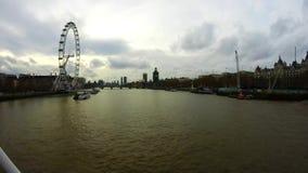 London Eye de time lapse, Londres, Reino Unido almacen de video