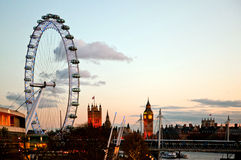London Eye at Dusk Stock Photos