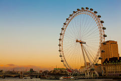 London Eye at Dusk. Just before evening Stock Photography