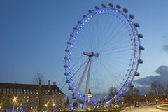 London Eye at dusk from Jubilee Gardens Royalty Free Stock Photography