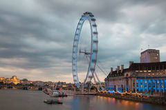 London eye in the dusk. Thames embankment Royalty Free Stock Images