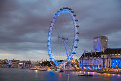 London eye in the dusk. Thames embankment Royalty Free Stock Photography