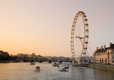 London Eye in the evening Stock Photography