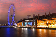 London Eye in the evening, London, UK Stock Photos