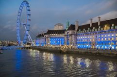 London Eye. Famous ferris wheel on the banks of the Thames stock photography