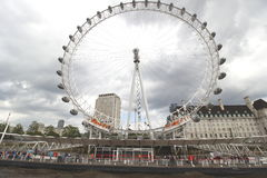 The London Eye Ferris wheel and county hall on the thames london Royalty Free Stock Image