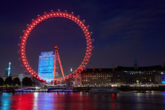 London eye, ferris wheel, illuminated in London Royalty Free Stock Photo