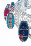 London Eye ferris wheel. LONDON - OCTOBER 19, 2015: Low angle view of some cabins of the famous London Eye ferris wheel, one of the main tourist attractions in stock image