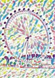 London eye ferris wheel watercolor vector illustration