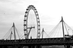 London Eye and Golden Jubilee Bridge Stock Images