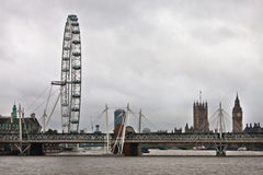 London Eye and Golden Jubilee Bridges Royalty Free Stock Image