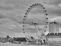 London eye grayscale. London eye greyscale monochrome  in cloudy background Stock Image