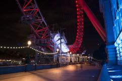 Details of beautiful London Eye ferris wheel at night Stock Photo
