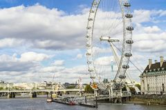 Nice outdoors photo with details of the London Eye ferris wheel. London Eye Great Britain, October 12 2017, Nice outdoors photo with details of the ferris wheel royalty free stock images