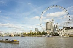 Nice outdoors photo with details of the London Eye ferris wheel. London Eye Great Britain, October 12 2017, Nice outdoors photo with details of the ferris wheel royalty free stock photos