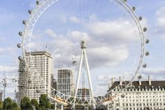 Nice outdoors photo with details of the London Eye ferris wheel in England stock photography