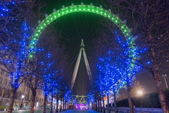 London Eye. In green and avenue of blue lit trees Stock Images