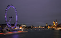London Eye and Houses of parliament Stock Images