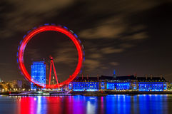 London Eye Illuminated at Night in London, England Royalty Free Stock Images