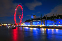 London Eye Illuminated at Night in London, England Stock Photo
