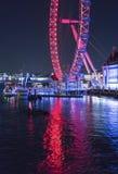 London Eye illuminated at night - London England  UK. London Eye illuminated at night - London England - United Kingdom Royalty Free Stock Photos