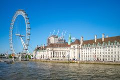Riverbank of thames river in london royalty free stock images