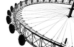 The London Eye in London. In high contrast, black and white Royalty Free Stock Photo