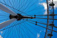 London Eye in London with a blue sky. View the London Millennium Eye, travel and tourism Royalty Free Stock Images