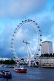 London Eye in London city and Thames river. View the London Millennium Eye, travel and tourism Stock Photos