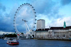 London Eye in London city and Thames river Stock Photography