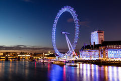 London Eye and London Cityscape in the Night. United Kingdom Stock Photography