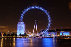 The London Eye, London, England. The London Eye is a giant Ferris wheel situated on the banks of the River Thames in London, England. The entire structure is 135 Royalty Free Stock Photo