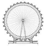 London Eye. Vector Illustration Hand Drawn Landmark Cartoon Art stock illustration