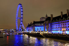 London Eye, London. London Eye at night, London, UK Royalty Free Stock Photography