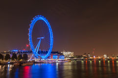 London Eye in London at night Stock Photo