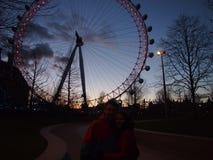 London Eye in nacht stock foto's