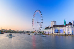 The London Eye near the River Thames  in London Royalty Free Stock Images