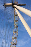 London Eye Pictures. New interesting angle of the London Eye wheel against blue. London Eye pictures Stock Photos