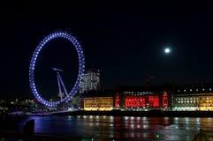 London eye at night. London eye spinning at night Royalty Free Stock Photos