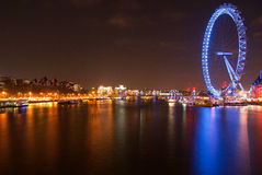 London Eye. In the night stock image