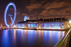 London Eye. In the night royalty free stock photography