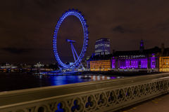 The London Eye at Night Stock Images