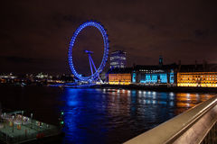 The London Eye at Night Stock Image