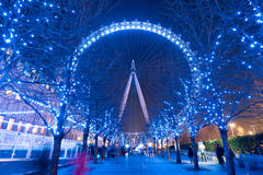 London Eye. At night with light up Royalty Free Stock Image