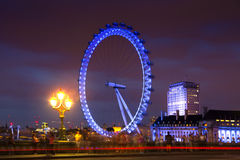 London eye in the night lights, London Royalty Free Stock Images